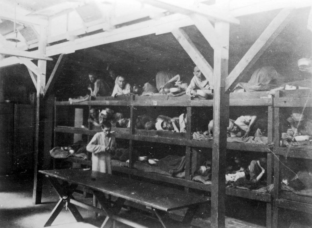FILE PHOTO: Inmates are seen lying on bunks in a barrack at Nazi German death camp Auschwitz-Birkenau after its liberation in Nazi-occupied Poland, in this undated handout picture