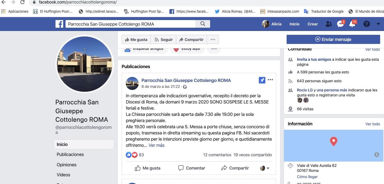 Perfil en Facebook de la parroquia