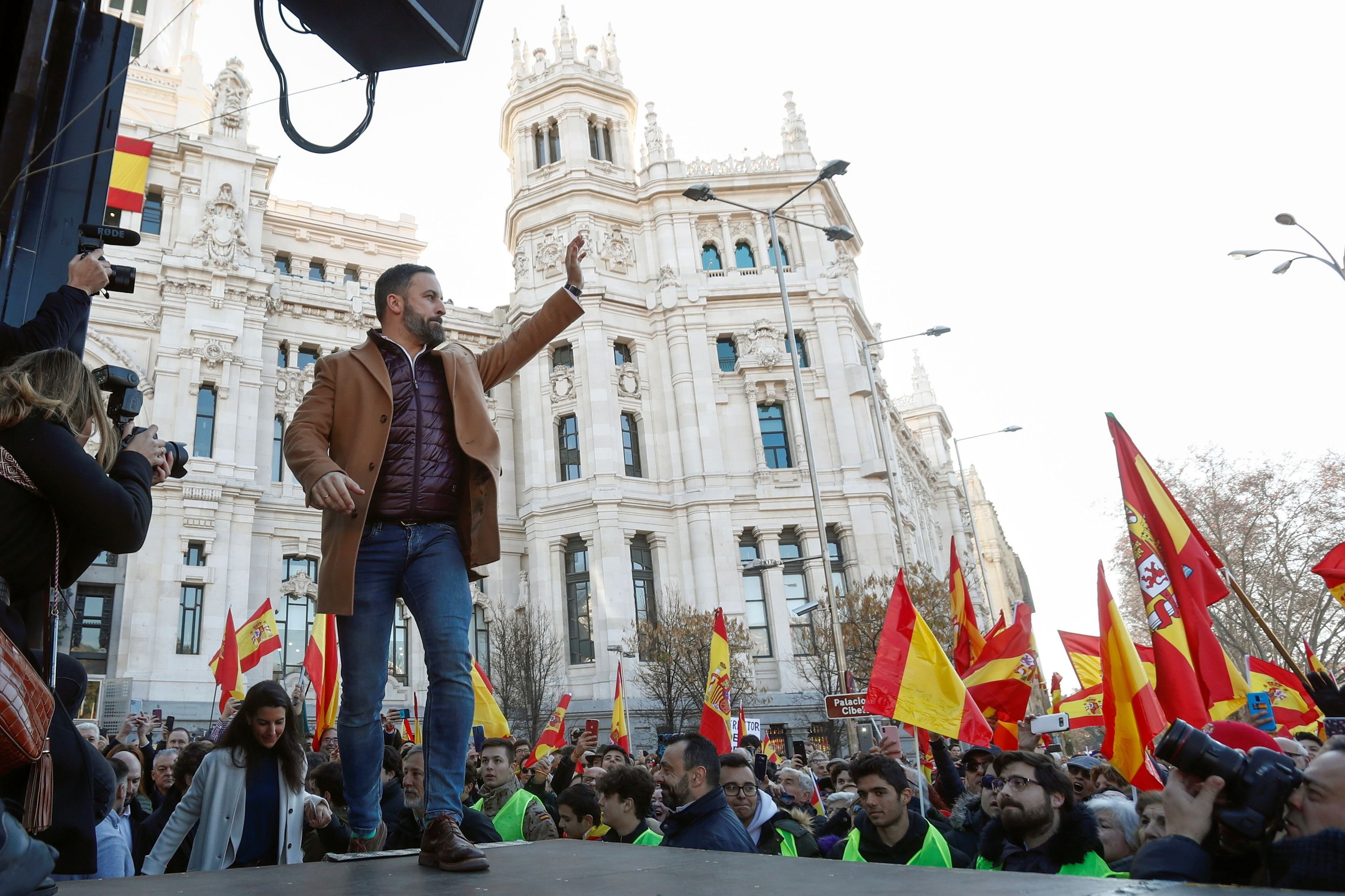 Protest called by far-right party VOX against the new coalition government led by Spain's PM Sanchez in Madrid
