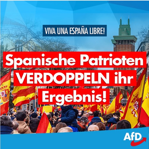 La Ultraderechista alemana AfD felicita a Vox y alude a los paralelismos entre ambos partidos