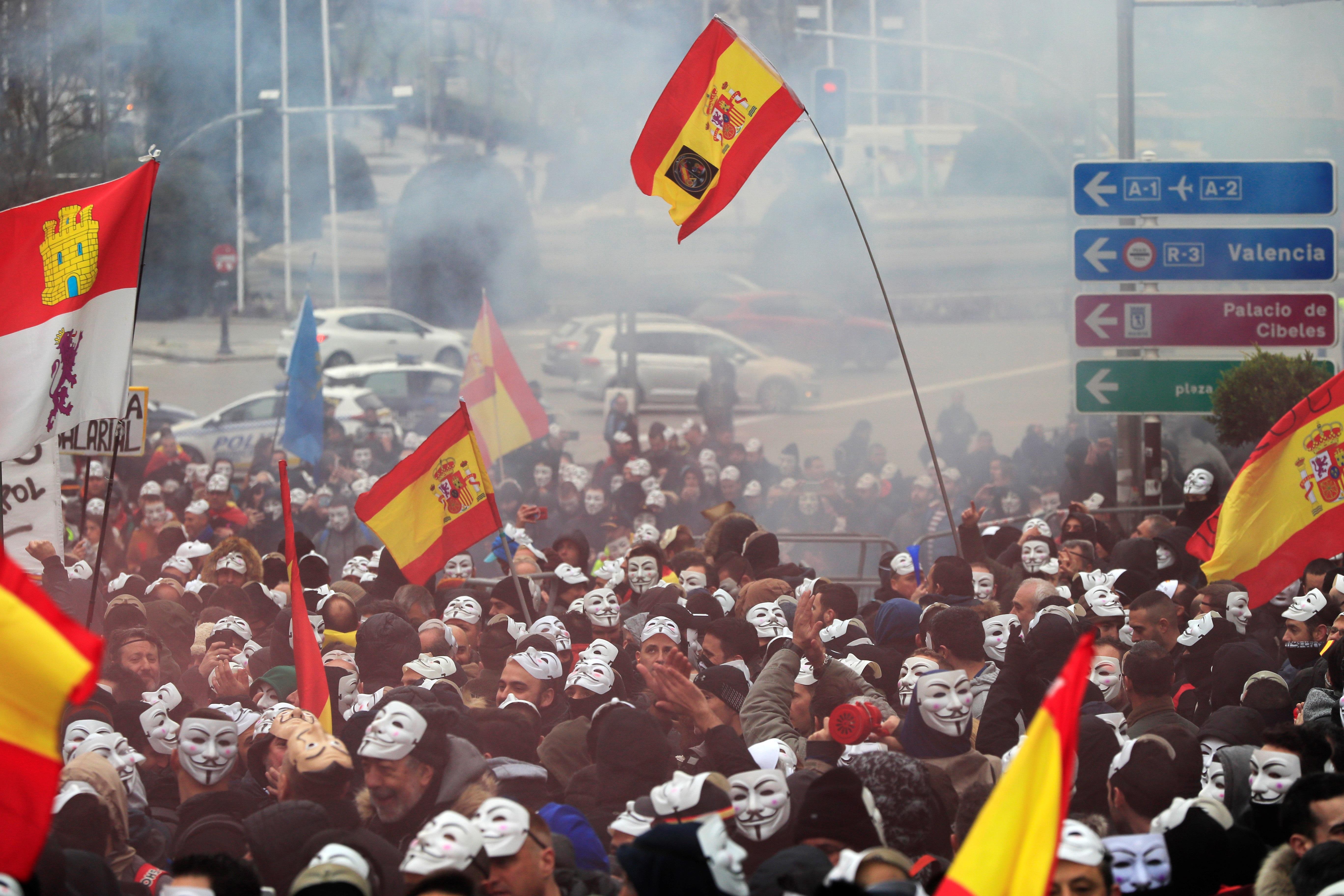 Manifestación de los policías y los guardias civiles