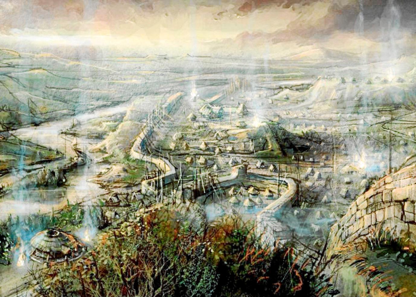 Boceto para el poblado de la serie «Romulus», la primera de la historia de la televisión rodada íntegramente en latín arcaico