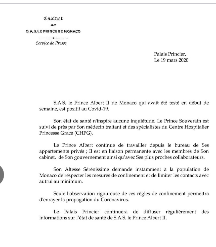 El Principado de Mónaco comunica que Alberto I ha dado positivo en Coronavirus