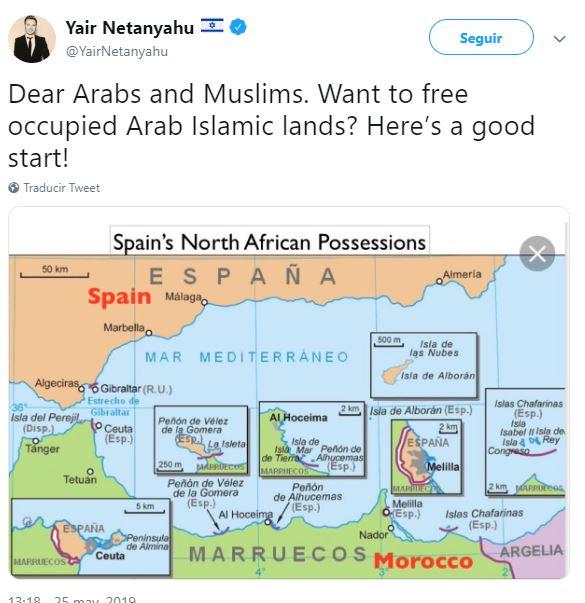Ceuta Y Melilla Mapa.El Hijo De Netanyahu Sugiere A Los Musulmanes Que Liberen