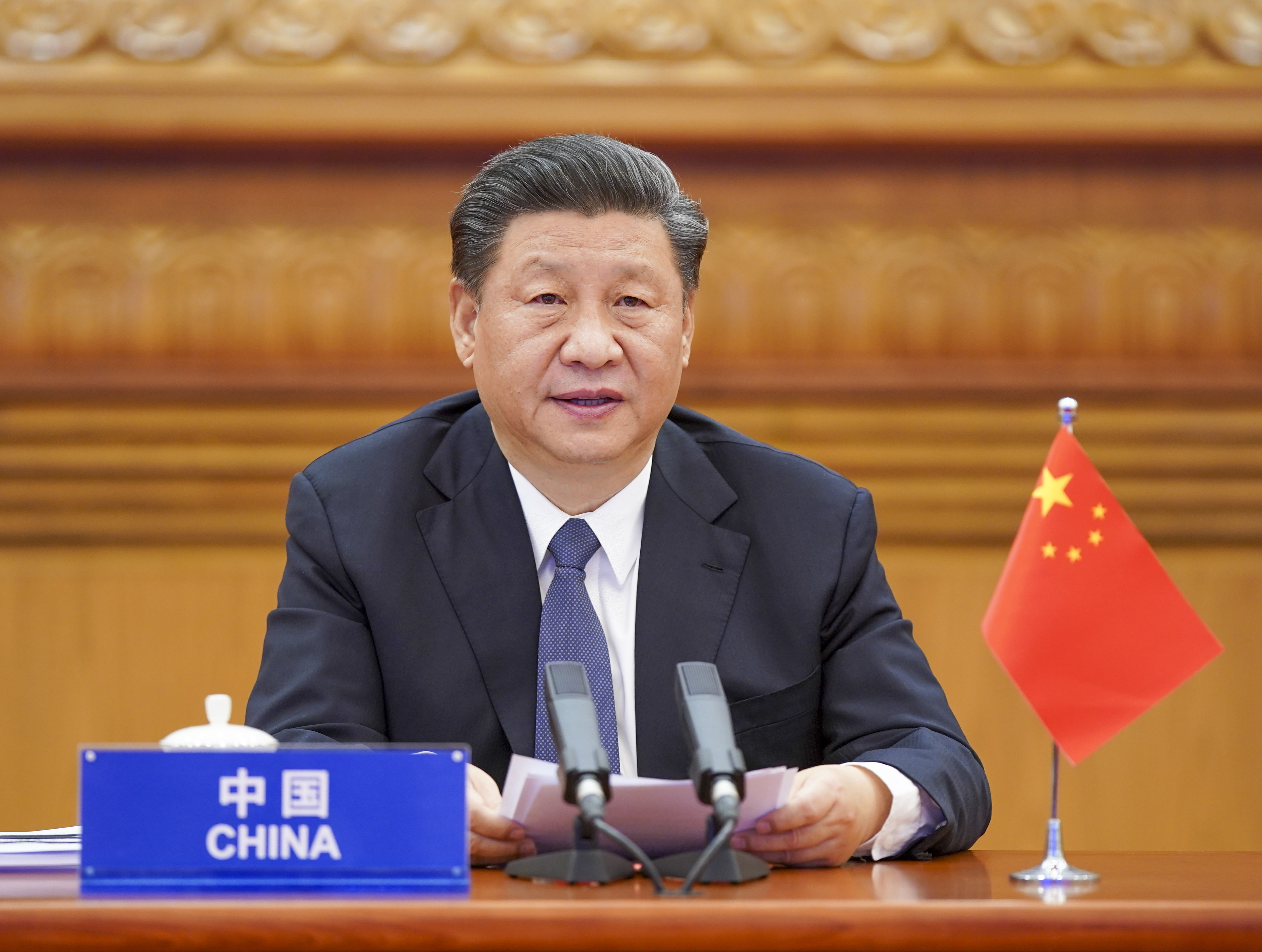 Chinese President Xi Jinping attends the G20 Extraordinary Virtual Leaders' Summit